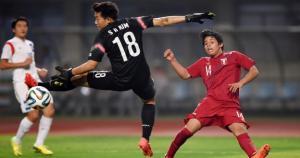 Franklin Gil anotando su gol a Corea del Sur. (Nanjing2014.org)