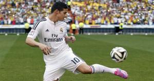 """""""El colombiano James Rodrígez, fichado del As Mónaco por 80 millones de euros, es uno de los mejores pasadores de Sudamérica. Máximo goleador del Mundial de Brasil, el Madrid incorpora a un asistente excepcional."""" (AP"""