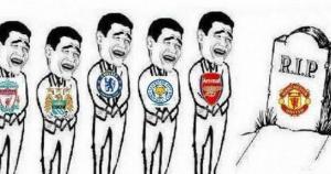 """Acá supuestamente los demás equipos entierra al """"fallecido"""" Manchester United."""