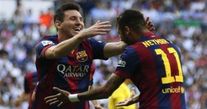 La dupla de terror del Barcelona: Lionel Messi celebra con Neymar el gol del brasileño. (Reuters)