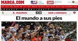 """""""El mundo a sus pies"""", titula el diario español Marca."""