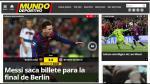 """Mundo Deportivo (España): """"Messi saca billete para final de Berlín"""":"""