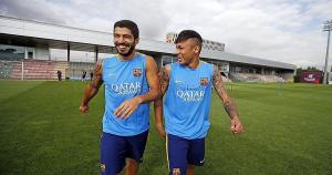 Luis Suárez junto a Neymar en los entrenamientos del Barcelona. (Barcelona FC)