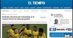 Perú vs. Colombia. Sufrida victoria de Colombia 2-0 contra Perú en Barranquilla. (Captura)
