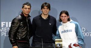 Balón de Oro 2007: Cristiano Ronaldo, Kaká y Lionel Messi (Difusión).