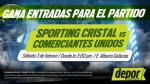 Sporting Cristal vs. Comerciantes Unidos: Depor te regala entradas dobles - Noticias de sporting cristal