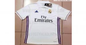 En Real Madrid predominará el blanco. Líneas moradas a los costados es la novedad (Footy Headlines).