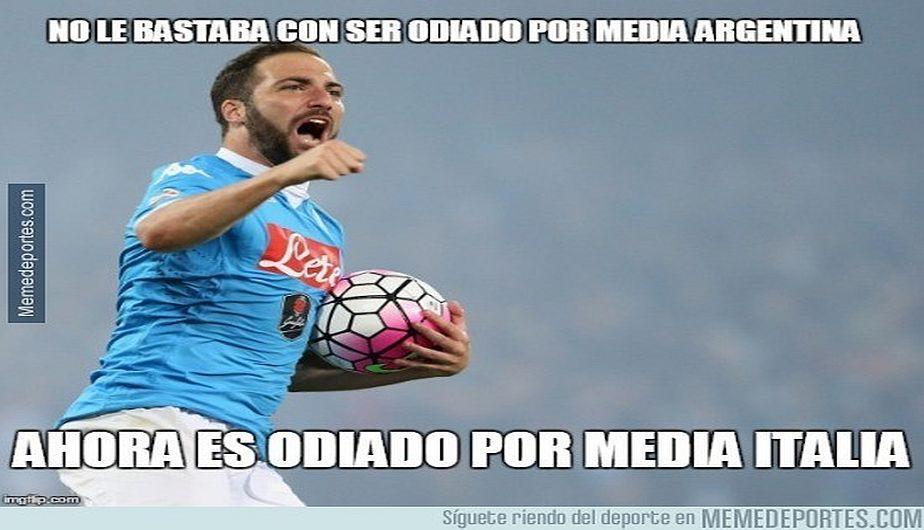 Así se encargaron las redes sociales del pase de Higuaín a Juventus. (Meme Deportes)